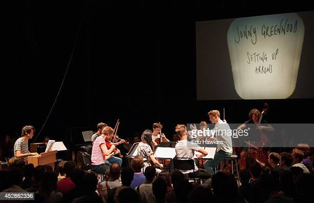 Jonny Greenwood of Radiohead performs on stage with the London Contemporary Orchestra conducted by Hugh Brunt at The Roundhouse on July 28 2014 in...