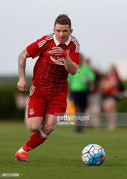 Jonny Hayes of Aberdeen FC in action during the friendly match between Aberdeen FC and FC Bunyodkor at the Jebel Ali Centre of Excellence on January...