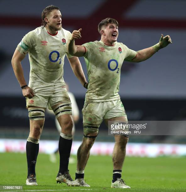 Jonny Hill and Tom Curry of England celebrate winning a penalty which wins the game after a successful kick from team mate Owen Farrell during the...