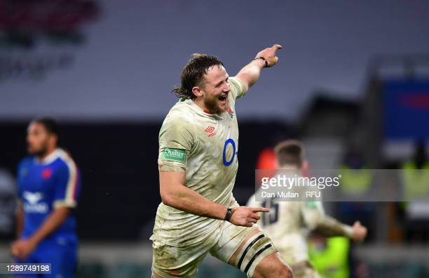 Jonny Hill of England celebrates victory in extra time during the Autumn Nations Cup Final & Quilter International between England and France at...