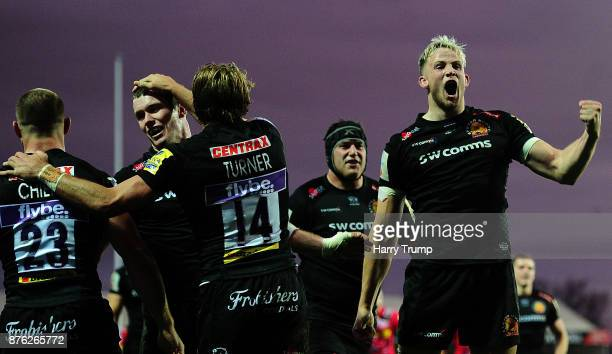 Jonny Hill of Exeter Chiefs celebrates his sides fourth try during the Aviva Premiership match between Exeter Chiefs and Harlequins at Sandy Park on...