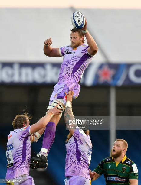 Jonny Hill of Exeter Chiefs claims a lineout during the Heineken Champions Cup Quarter Final match between Exeter Chiefs and Northampton Saints at...