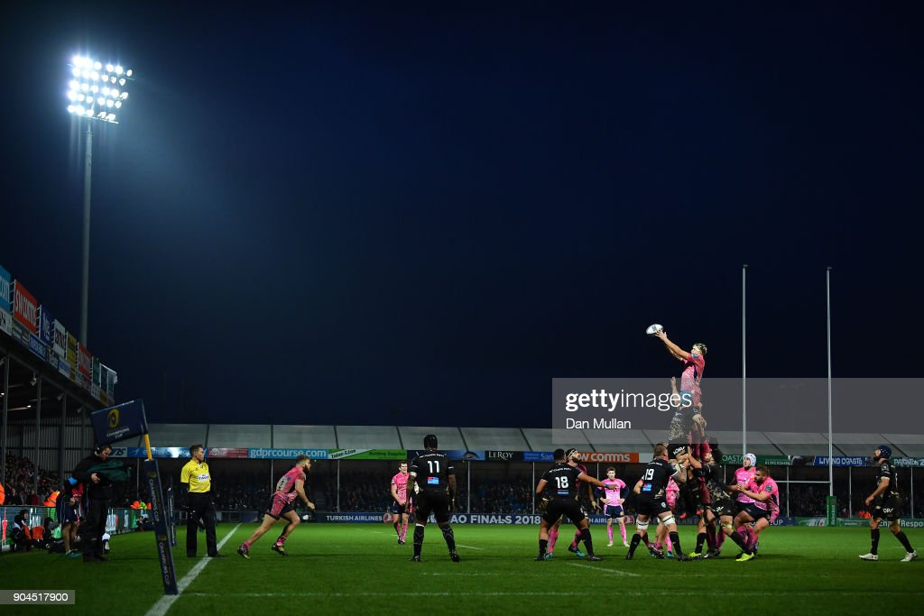 Jonny Hill of Exeter Chiefs rises to claim the lineout during the European Rugby Champions Cup match between Exeter Chiefs and Montpellier at Sandy Park on January 13, 2018 in Exeter, England.
