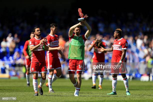 Jonny Howson of Middlesbrough and team mates celebrate reaching the playoffs after the Sky Bet Championship match between Ipswich Town and...
