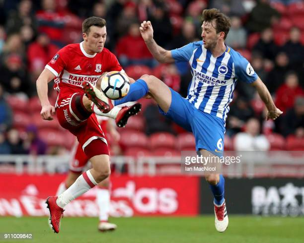Jonny Howson of Middlesbrough battles for possesion with Dale Stephens of Brighton and Hove Albion during The Emirates FA Cup Fourth Round match...