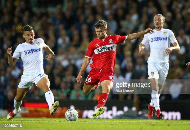 Jonny Howson of Middlesbrough shoots during the Sky Bet Championship match between Leeds United and Middlesbrough at Elland Road on August 31 2018 in...