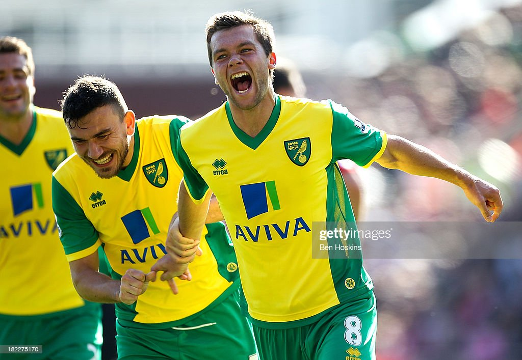 Jonny Howson of Norwich celebrates after scoring the opening goal of the game during the Barclays Premier League match between Stoke City and Norwich City at the Britannia Stadium on September 29, 2013 in Stoke on Trent, England.