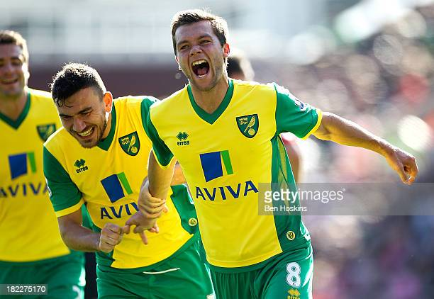 Jonny Howson of Norwich celebrates after scoring the opening goal of the game during the Barclays Premier League match between Stoke City and Norwich...