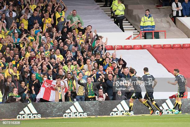 Jonny Howson of Norwich celebrates during the Sky Bet Championship match between Nottingham Forest and Norwich City at the City Ground on September...