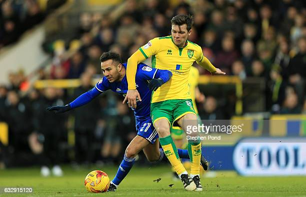 Jonny Howson of Norwich City and Kerim Frei of Birmingham City compete for the ball during the Sky Bet Championship match between Norwich City and...