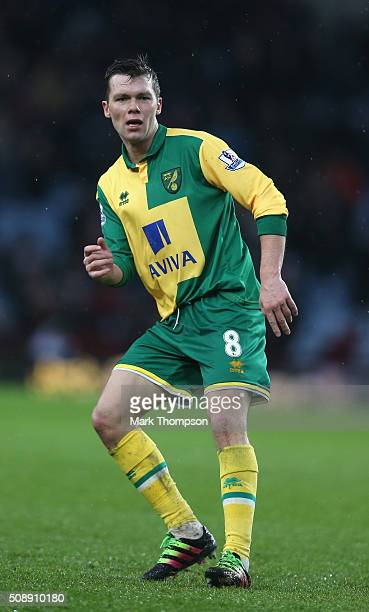Jonny Howson of Norwich City in action during the Barclays Premier League match between Aston Villa and Norwich City at Villa Park on February 6 2016...