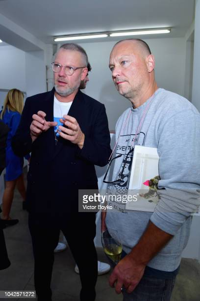Jonny Johansson and Juergen Teller attend exhibition hosted by Acne Studios featuring Cindy Crawford Sam Abell and Amarrillo on at Galerie Edouard...