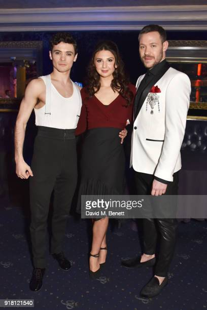 Jonny Labey Zizi Strallen and Will Young pose at a photocall for 'Strictly Ballroom The Musical' at Cafe de Paris on February 14 2018 in London...