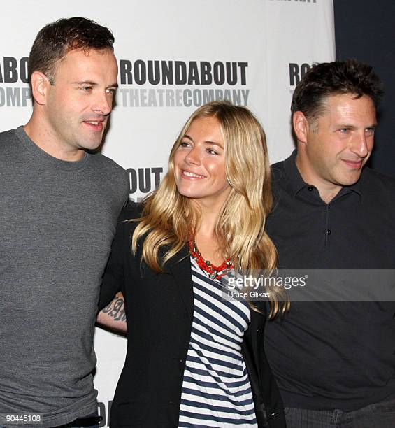 Jonny Lee Miller Sienna Miller and playwright Patrick Marber attend the 'After Miss Julie' Broadway cast photo call on September 8 2009 in New York...