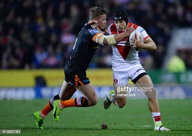 Jonny Lomax of St Helens in action during the Betfred Super League match between St Helens and Castleford Tigers at Langtree Park on February 2 2018...