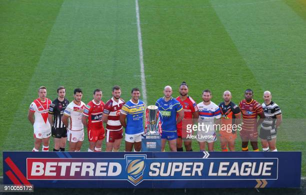 Jonny Lomax of St Helens Joe Mellor of Widnes Vikings Ben Garcia of Catalans Dragons Shaun Lunt of Hull KR Sean O'Loughlin of Wigan Warriors Ryan...