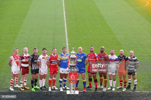 Jonny Lomax of St Helens Liam Farrell of Wigan Warriors Rhys Hanbury of Widnes Vikings Ben Garcia of Catalans Dragons Shaun Lunt of Hull KR Ryan Hall...