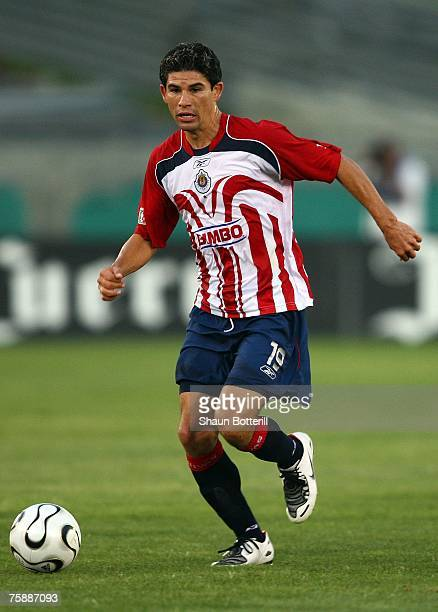 Jonny Magallon of CD Chivas de Guadalajara moves the ball on the attack against the Los Angeles Galaxy during their SuperLiga match at the Los...