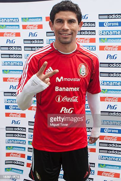Jonny Magallon of Mexico national soccer team pose for photos during the press day before a World Cup qualifier match against Panama on October 08...