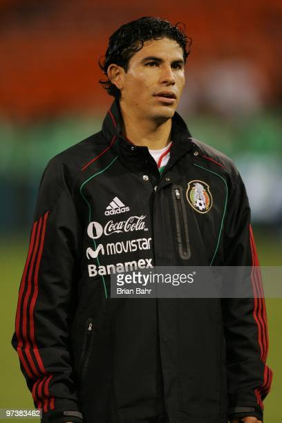 Jonny Magallon of Mexico stands for the national anthem before a friendly match against Bolivia in preparation for the 2010 FIFA World Cup on...