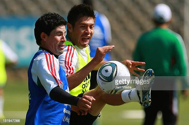 Jonny Magallon Oribe Peralta during a trainning session of the Mexican Soccer National Team at CAR on November 8 2011 in Mexico City Mexico