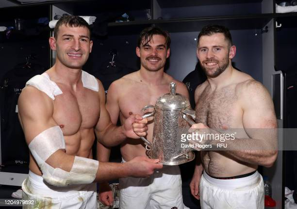 Jonny May George Furbank and Elliot Daly of England pose with the Calcutta Cup after their victory during the 2020 Guinness Six Nations match between...