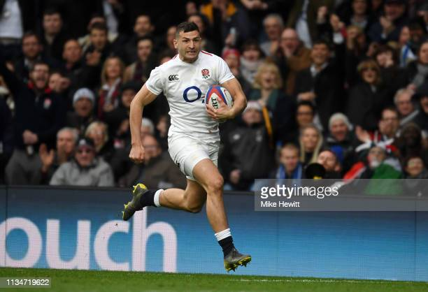 Jonny May of England breaks during the Guinness Six Nations match between England and Italy at Twickenham Stadium on March 09 2019 in London England