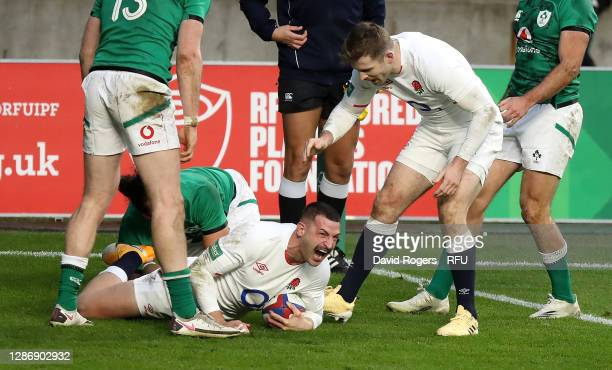 Jonny May of England celebrates after scoring his first try during the England v Ireland Quilter International match, part of the Autumn Nations Cup...