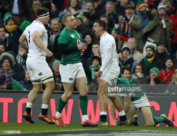 Jonny May of England celebrates after scoring the first try during the Guinness Six Nations match between Ireland and England at Aviva Stadium on...