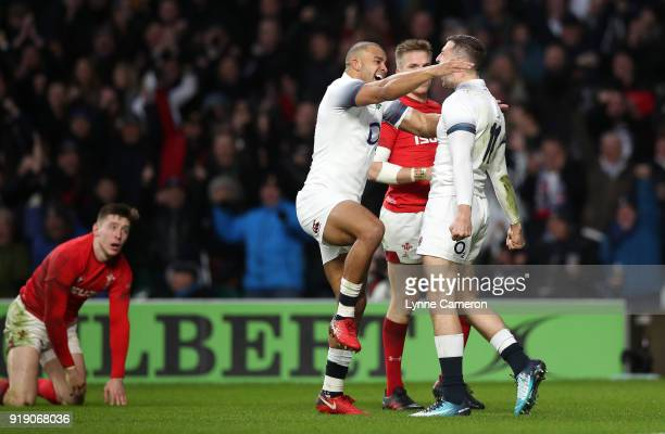 Jonny May of England celebrates scoring a try during the NatWest Six Nations match between England and Wales at Twickenham Stadium on February 10...