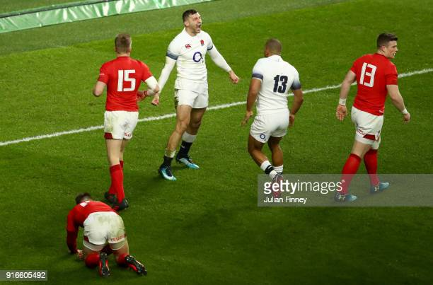 Jonny May of England celebrates scoring his second try during the NatWest Six Nations round two match between England and Wales at Twickenham Stadium...