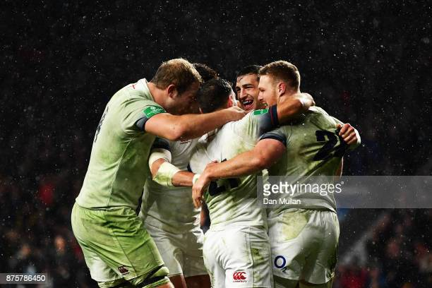 Jonny May of England celebrates scoring his sides third try with team mates during the Old Mutual Wealth Series match between England and Australia...