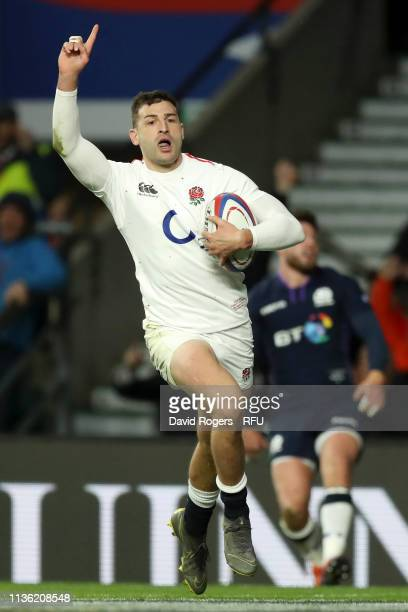 Jonny May of England celebrates scoring his team's fourth try during the Guinness Six Nations match between England and Scotland at Twickenham...