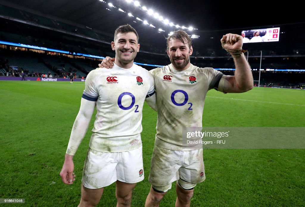 Jonny May of England celebrates with Chris Robshaw following the NatWest Six Nations round two match between England and Wales at Twickenham Stadium on February 10, 2018 in London, England.