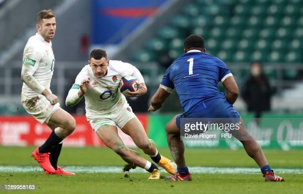 Jonny May of England charges upfield during the Autumn Nations Cup Final and Quilter International match between England and France at Twickenham...