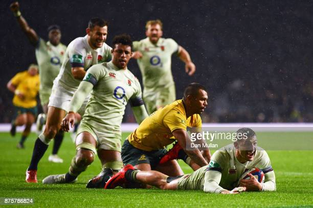Jonny May of England goes over to score his sides third try during the Old Mutual Wealth Series match between England and Australia at Twickenham...