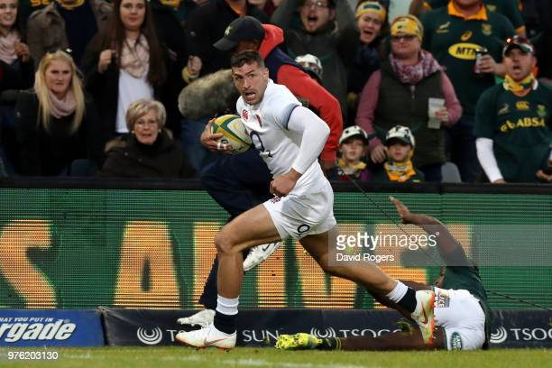 Jonny May of England goes over to score his team's second try during the second test match between South Africa and England on June 16 2018 in...