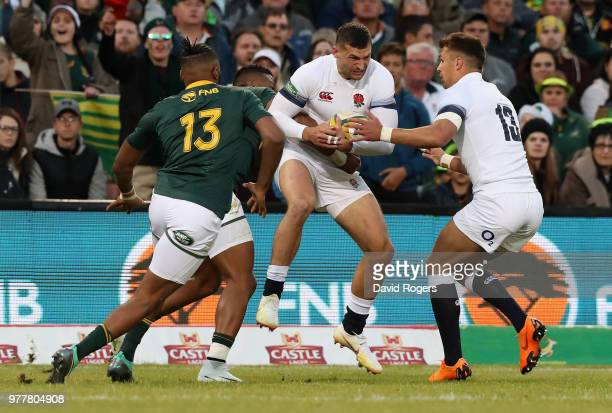 Jonny May of England holds onto the ball during the second test match between South Africa and England at Toyota Stadium on June 16 2018 in...