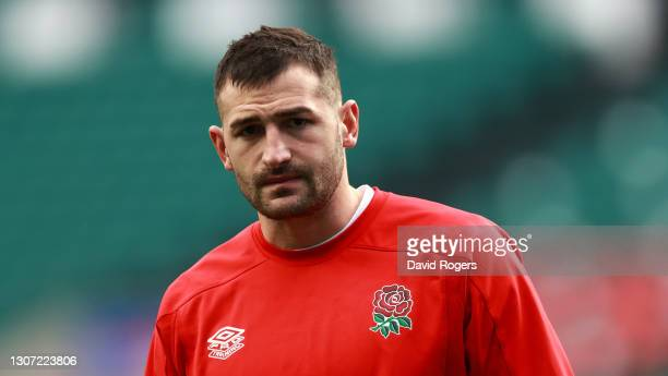 Jonny May of England looks on in the warm up prior to the Guinness Six Nations match between England and France at Twickenham Stadium on March 13,...