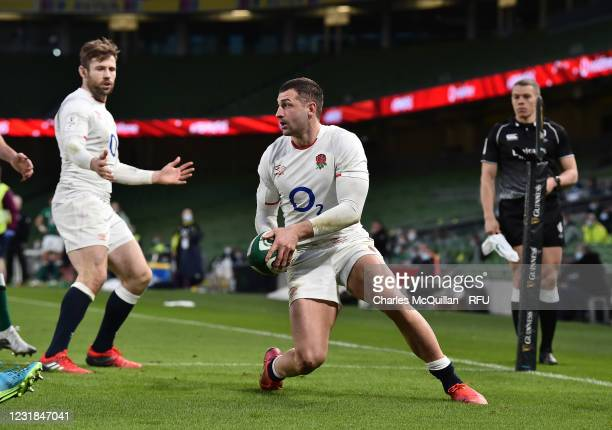 Jonny May of England reacts after scoring a try during the Guinness Six Nations match between Ireland and England at Aviva Stadium on March 20, 2021...