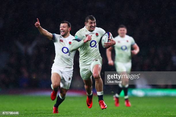 Jonny May of England runs towards the try line during the Old Mutual Wealth Series match between England and Australia at Twickenham Stadium on...