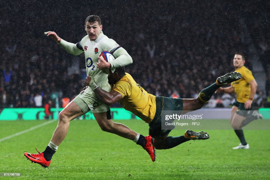 Jonny May of England runs towards the try line during the Old Mutual Wealth Series match between England and Australia at Twickenham Stadium on November 18, 2017 in London, England.