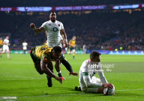 Jonny May of England scores a disallowed try during the Quilter International match between England and Australia at Twickenham Stadium on November...