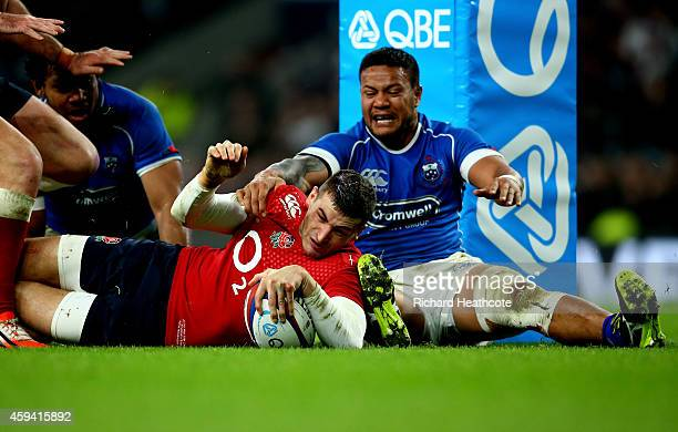 Jonny May of England scores a try during the QBE international match between England and Samoa at Twickenham Stadium on November 22 2014 in London...