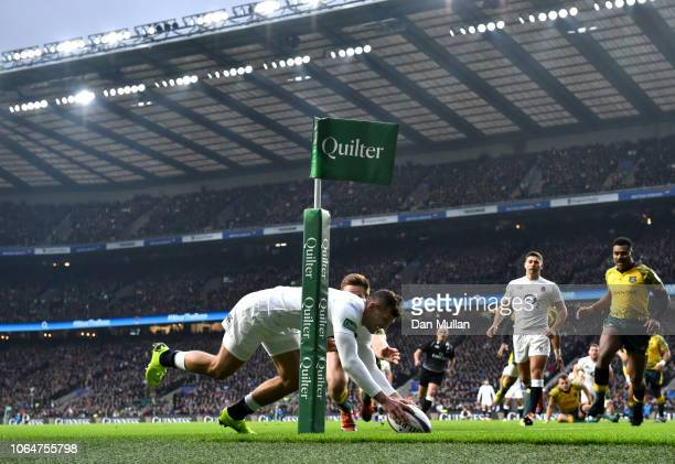 Jonny May of England scores the first try during the Quilter International match between England and Australia at Twickenham Stadium on November 24...