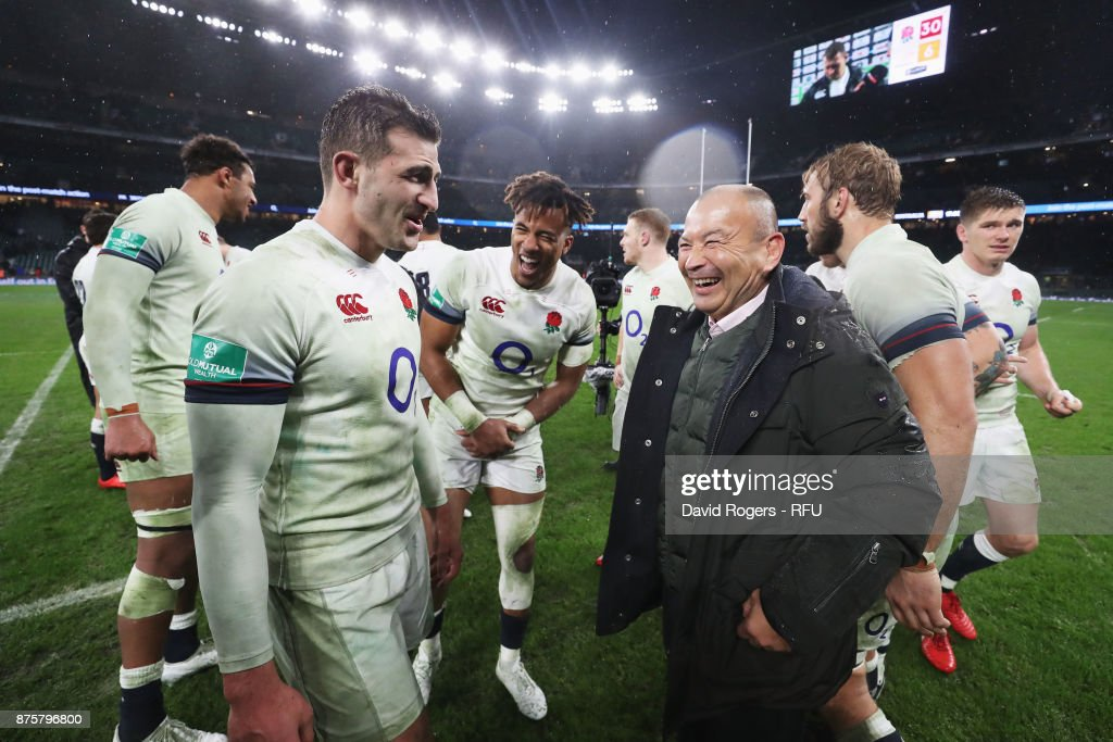 Jonny May of England speaks with Eddie Jones, head coach of England after the Old Mutual Wealth Series match between England and Australia at Twickenham Stadium on November 18, 2017 in London, England.
