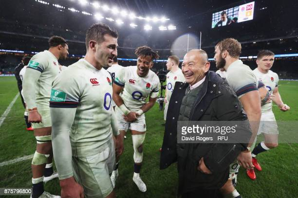 Jonny May of England speaks with Eddie Jones head coach of England after the Old Mutual Wealth Series match between England and Australia at...