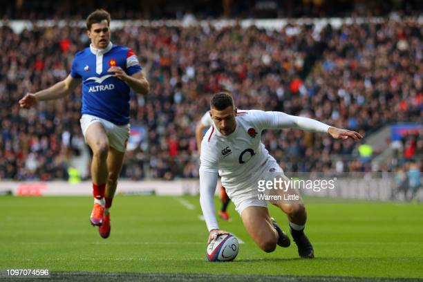 Jonny May of England touches down for the first try during the Guinness Six Nations match between England and France at Twickenham Stadium on...