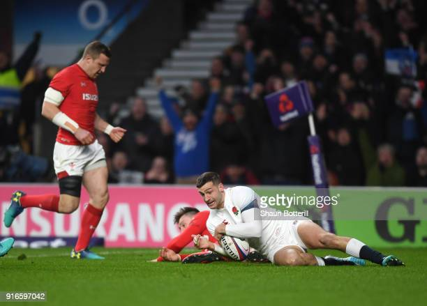 Jonny May of England touches down for the first try during the NatWest Six Nations round two match between England and Wales at Twickenham Stadium on...