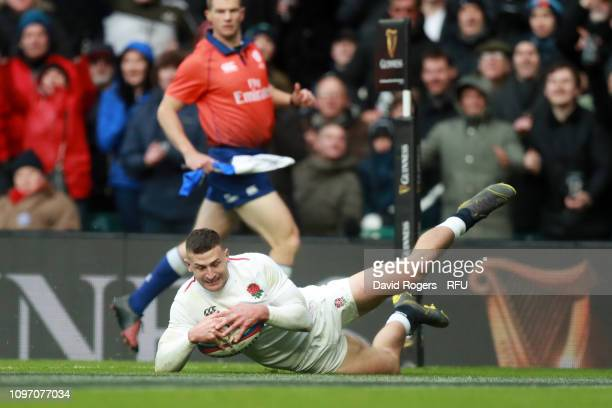 Jonny May of England touches down for the third try during the Guinness Six Nations match between England and France at Twickenham Stadium on...